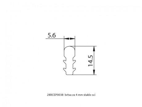 MS 20x20 brtva za policu od stakla 4mm