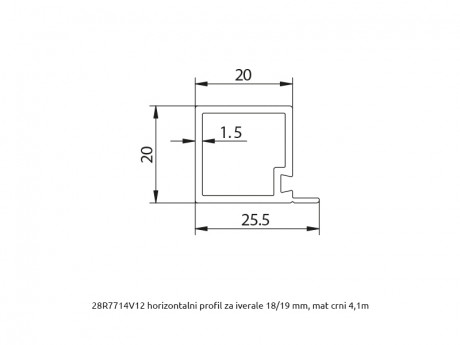 MS 20x20 horizontalni profil za iverale R7714