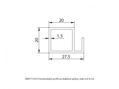 MS 20x20 horizontalni profil za staklene police R7713