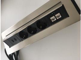 Preklopna utičnica - 3 šuko + 2 USB + 2RJ45 - NiSat