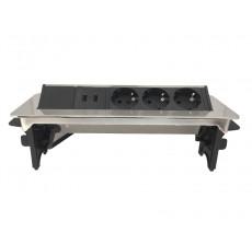 Preklopna utičnica - 3 šuko 2 USB - NiSat